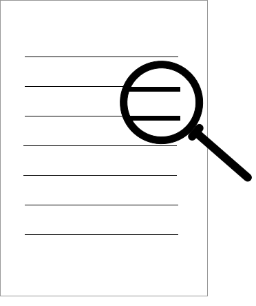 image of magnifying glass over paper